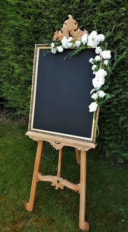 Large chalkboard & white floral