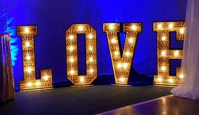 Our rustic LOVE lights