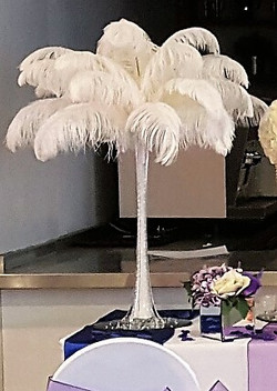Ostrich feather centrepiece.