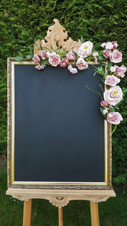 Large chalkboard & pink floral