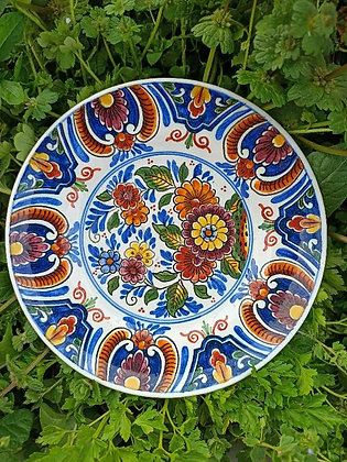Eski,Old Delft,renkli,Çiçekli Duvar Tabakları(Büyük Çap:19cm)