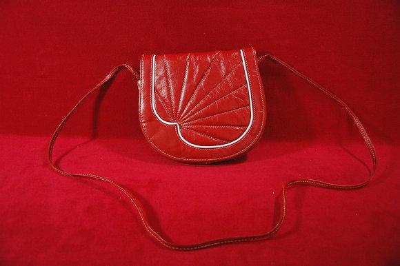 Vintage Kırmızı Beyaz Deri Çanta(60'lar)