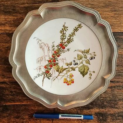Rehau Bavaria Germany,Kenarları Zinn,İçi Porselen El Biyama,Çiçekli Duvar Tabağı