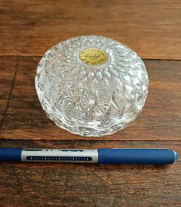 Fransız,Beyaz Kristal,Kapaklı Şekerlik (Çap:9cm, Yükseklik:6,5cm)