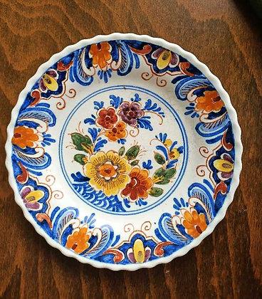 Eski,Old Delft,renkli,Çiçekli Duvar Tabakları( Çap:14cm)