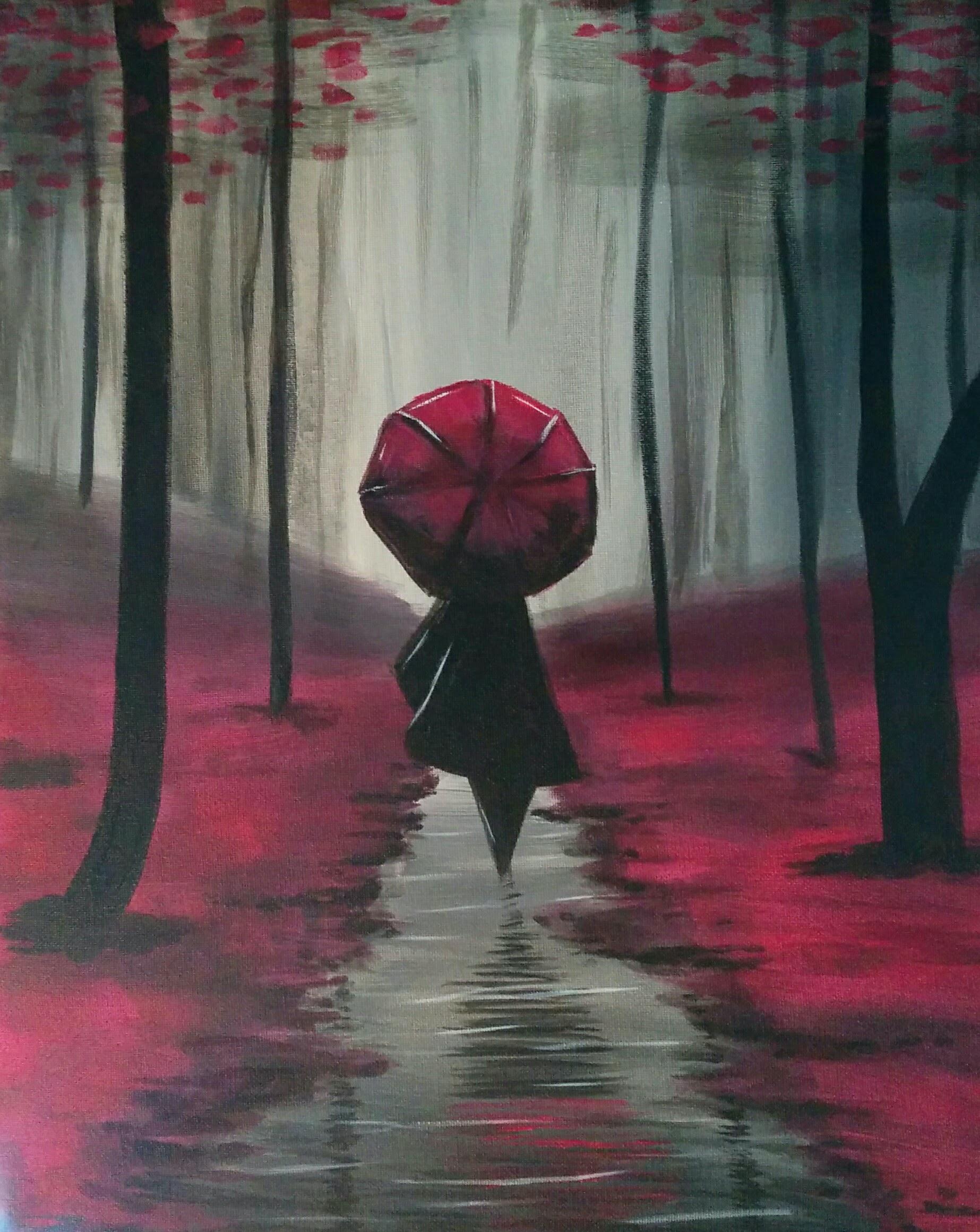 Cherry blossoms rain walk