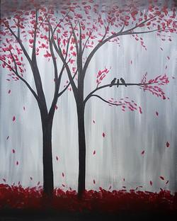 Cherry Trees With Birds