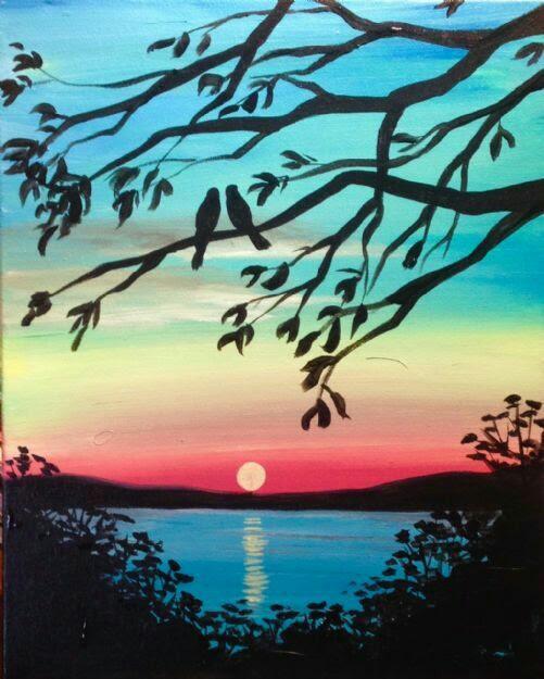 Love Birds Lake Sunset