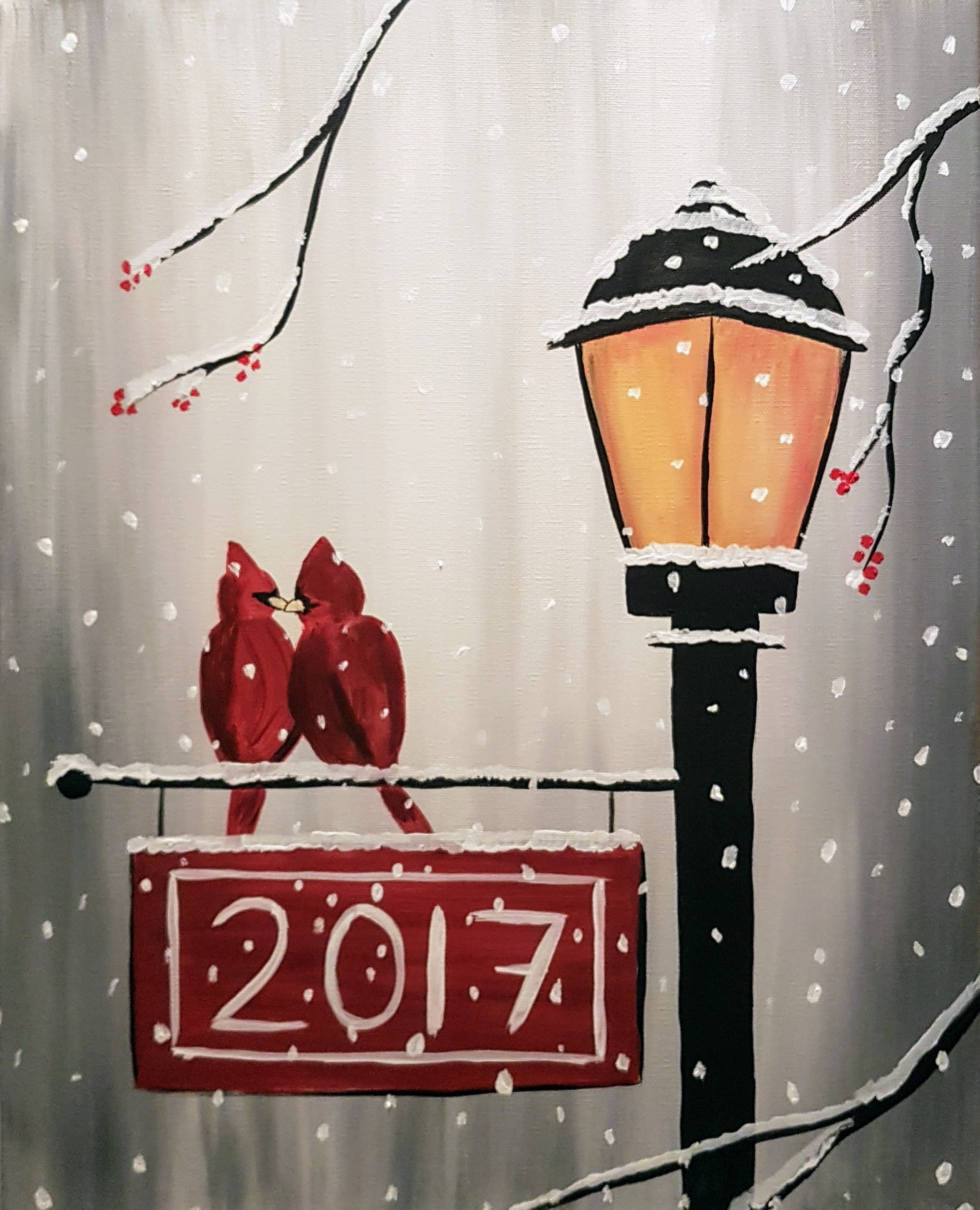 Cardinals On Winter Sign