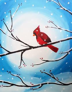 Winter Cardinal on Branch