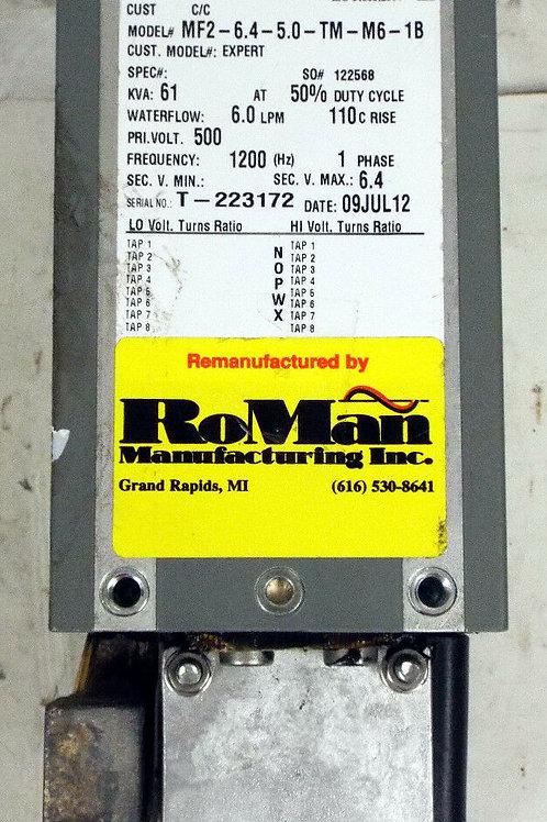 REMANUFACTURED RoMan MF2-6.4-5.0-TM-M6-1B WELDING TRANSFORMER 61 KVA, 1 PHASE