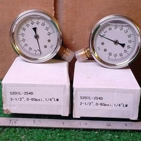 2 NEW PIC S201L-254D GLYCERIN FILLED PRESSURE GAUGE
