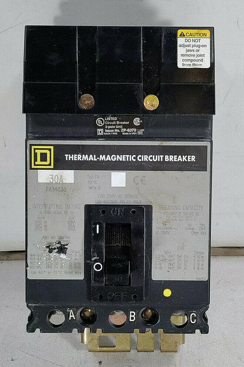 USED SQUARE D FA34030 CIRCUIT BREAKER 30A