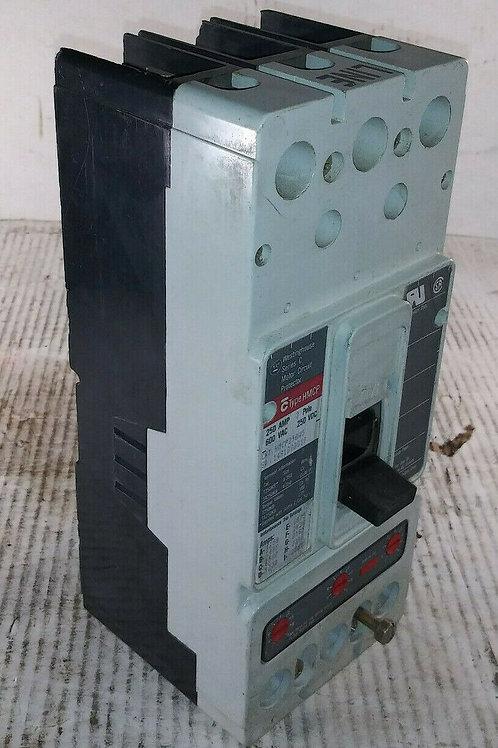 USED WESTINGHOUSE HMCP250W5 CIRCUIT BREAKER 250A 3P 600VAC