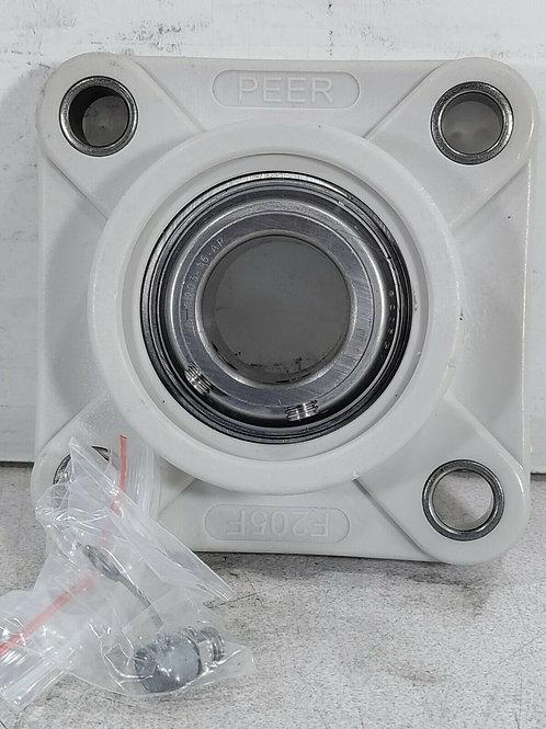 NEW PEER F205F 4-BOLT PLASTIC FLANGE UNIT w/ SUC205-16-AP INSERT BEARING