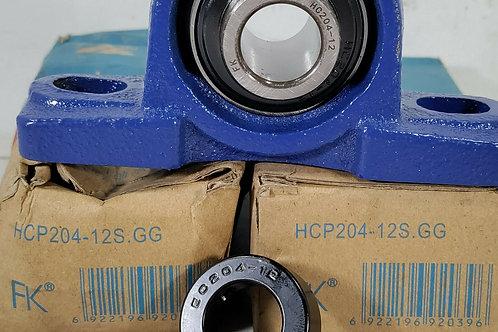 2 NEW FK HCP204-12S.GG PILLOW BLOCK BEARING UNITS w/ LOCKING COLLAR