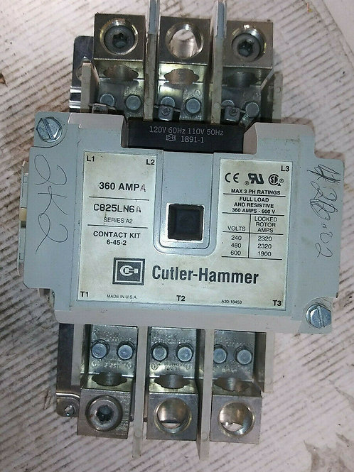 USED CUTLER-HAMMER C825LN6A CONTACTOR CASE 360A 3P - NO CONTACTS