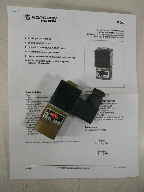 NEW NORGREN HERION 9505210 2/2 DIRECTIONAL CONTROL VALVE