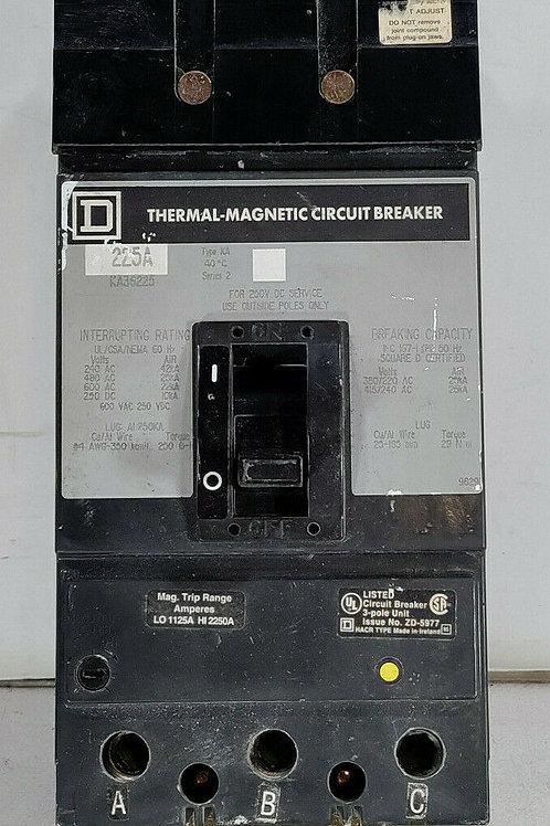 USED SQUARE D KA36225 THERMAL MAGNETIC CIRCUIT BREAKER 225A