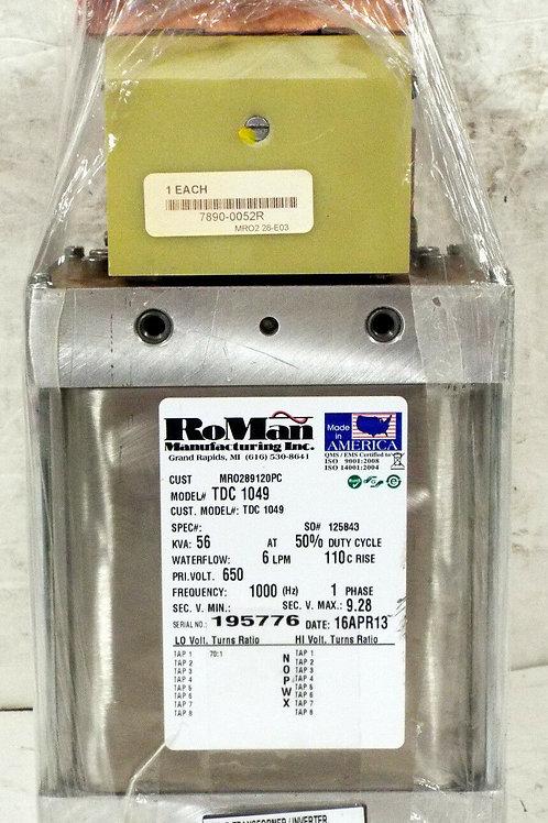 REMANUFACTURED RoMan TDC-1049 WELDING TRANSFORMER 56 KVA, 1 PHASE