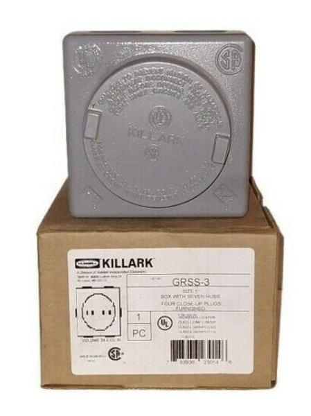 """NEW KILLARK GRSS-3 SQUARE OUTLET BOX 7-HUB 1"""""""