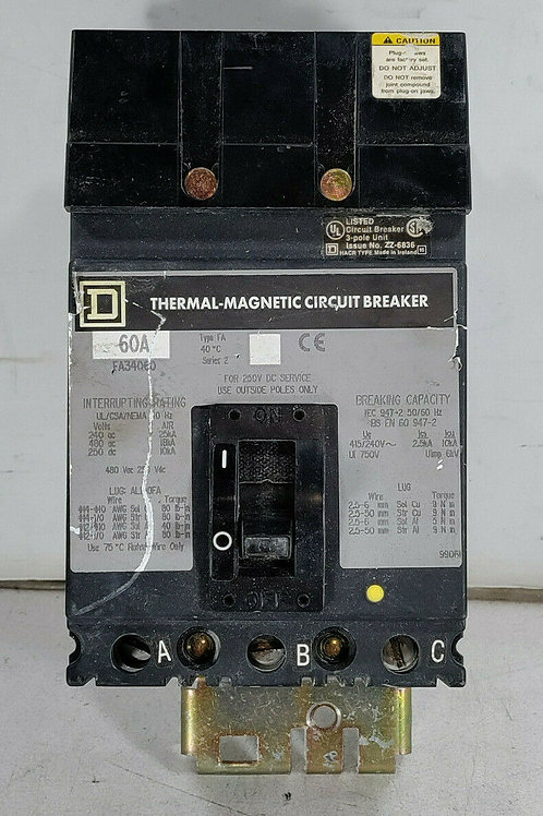USED SQUARE D FA34060 THERMAL MAGNETIC CIRCUIT BREAKER 60A