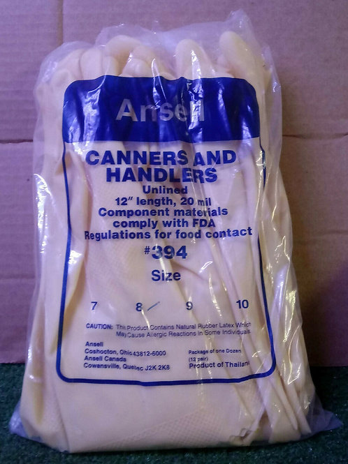 12 NEW ANSELL #394 SIZE 8 CANNERS AND HANDLER LATEX GLOVES