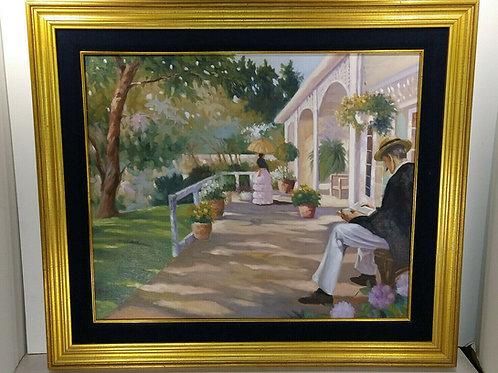 CUSTOM FRAMED LUGANO CANDI OIL ON CANVAS SIGNED PAINTING OF PEOPLE OUTSIDE