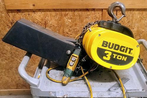 USED BUDGIT BEHC0310 3-TON ELECTRIC HOIST, 10FPM, 3 PHASE W/ PENDANT