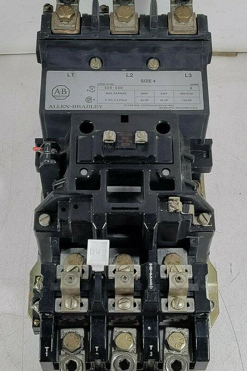 USED ALLEN BRADLEY 509-E0D NON-REVERSING STARTER SIZE 4 SER. A