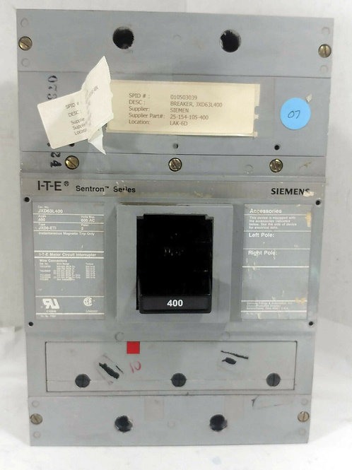 NEW SIEMENS JXD63L400 BREAKER TYPE JXD6-ETI 400A, 600V, 3POLE