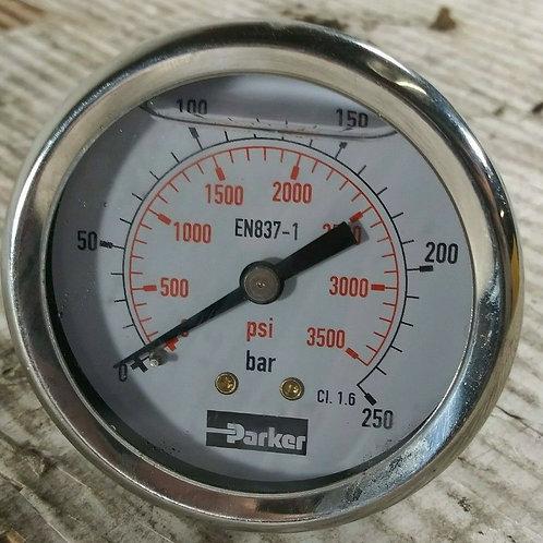 NEW PARKER EN837-1 PRESSURE GAUGE 0-250 BAR 0-3500 PSI