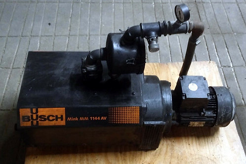 USED BUSCH MINK MM 1144 AV VACUUM PUMP W/ IP 55 MOTOR & FILTER
