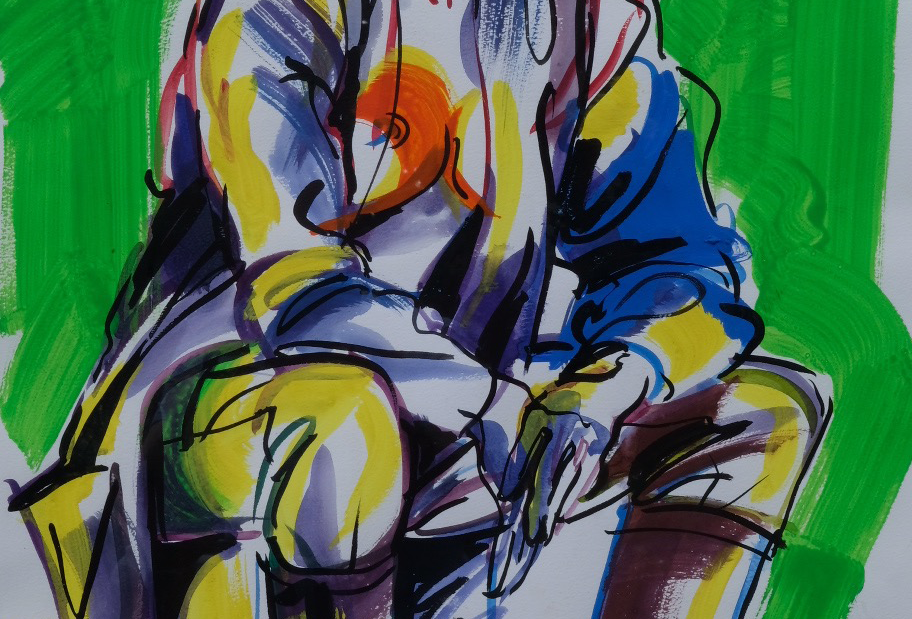 "68x89 cm Akryl på papper, ""Paus"""