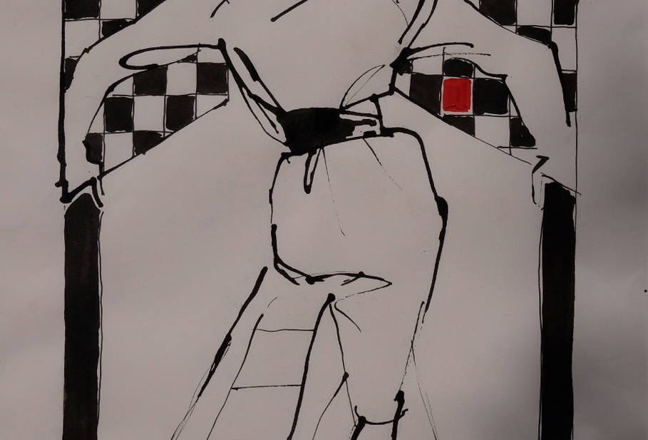 "62x77 cm, Akryl på papper, ""Revoir"""