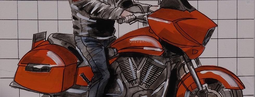 """67x55 cm, Akryl på duk, """"Motorcykel Victoria"""""""