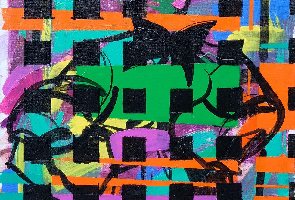 """60x73 cm, Akryl på duk, """"Checkered"""""""