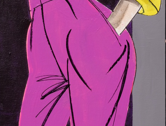 "30x90cm, Akryl på duk,""Lycklig i lila"""