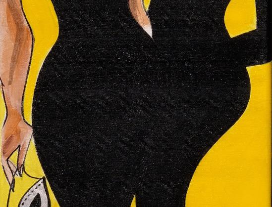 """30x90 cm, Akryl på duk,""""Par i damer"""""""