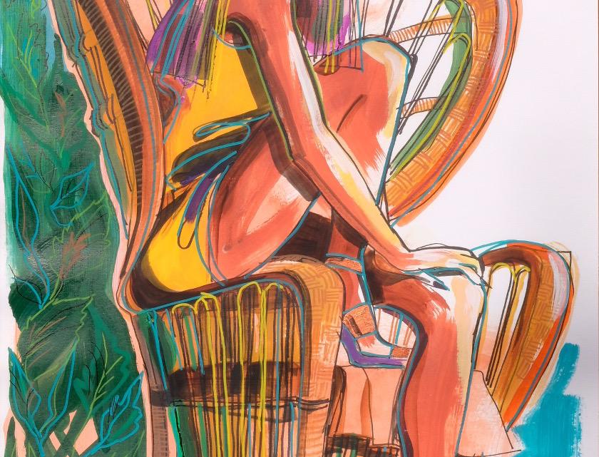 "61x99 cm, Akryl på papper, ""Costa Rica"""