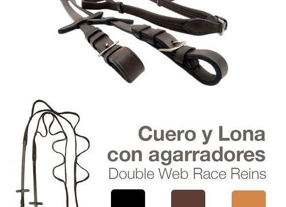 RIENDAS CUERO LONA CON AGARRADORES 1818