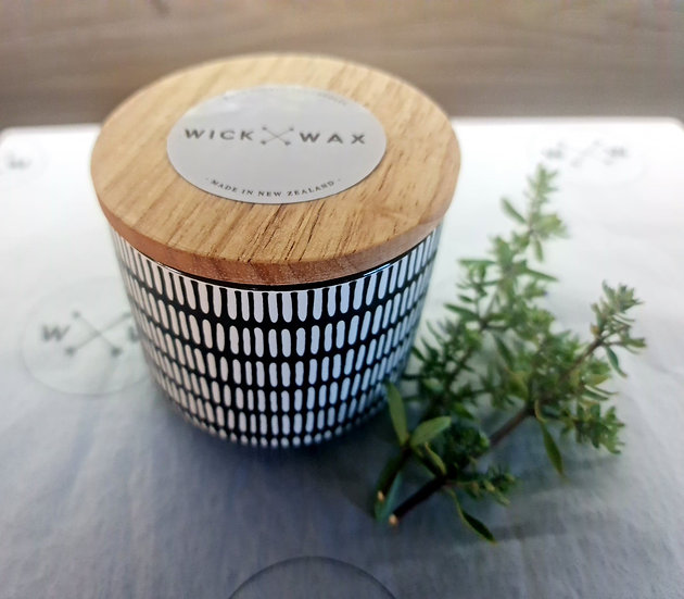 Customize Your Own - Black and White Dash Soy Wax Candle (300ml)