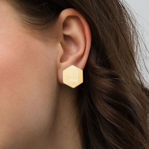 Cactus Sterling Silver Hexagon Stud Earrings