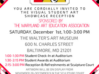 MAEA Student Art Showcase Reception at Walters Art Museum Saturday