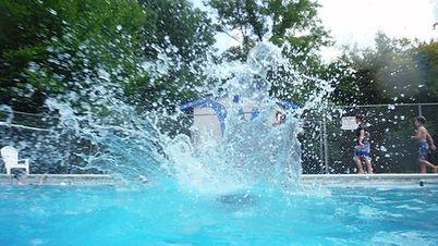 Swimming jumpin in the water splashing