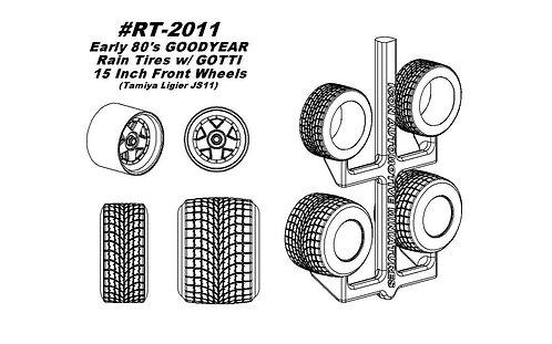 "Tamiya JS11 - Erly '80s V Tread Wfoot Rain Conv Tires w/Gotti 15"" Front Wheels"