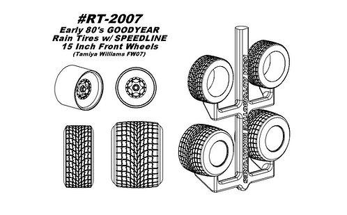 "Tamiya FW07 - Erly '80s V Trd Wfoot Rain Conv Tires w/Spdlne 15"" Ft Whls"