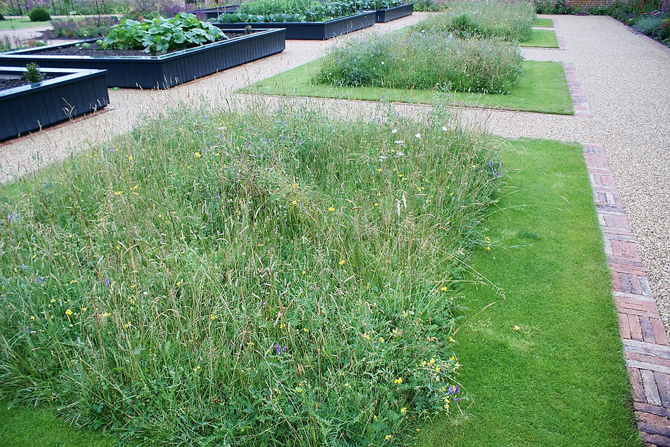 Brick edged squares of mown meadow next to painted wooden raised planting beds