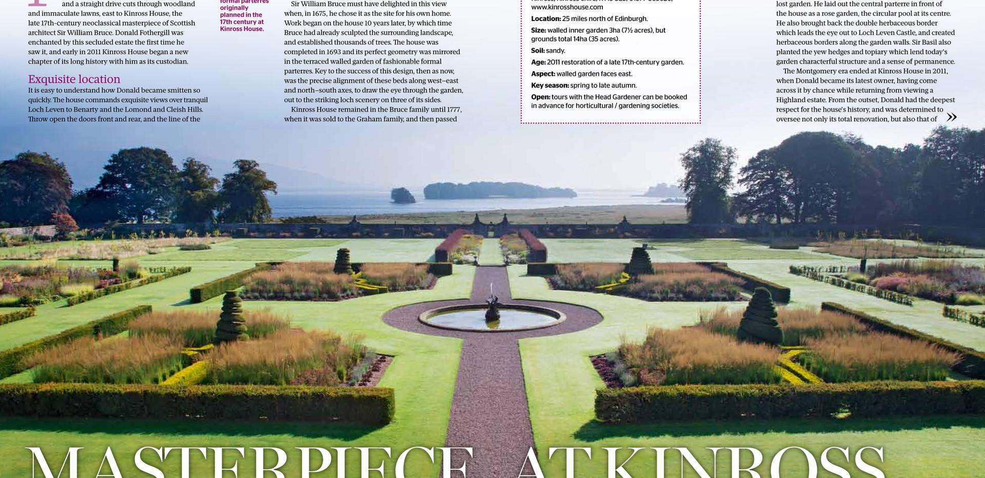 Kinross House Gardens, designed by Alistair Baldwin, The Garden, RHS Magazine September 2016, Page 1