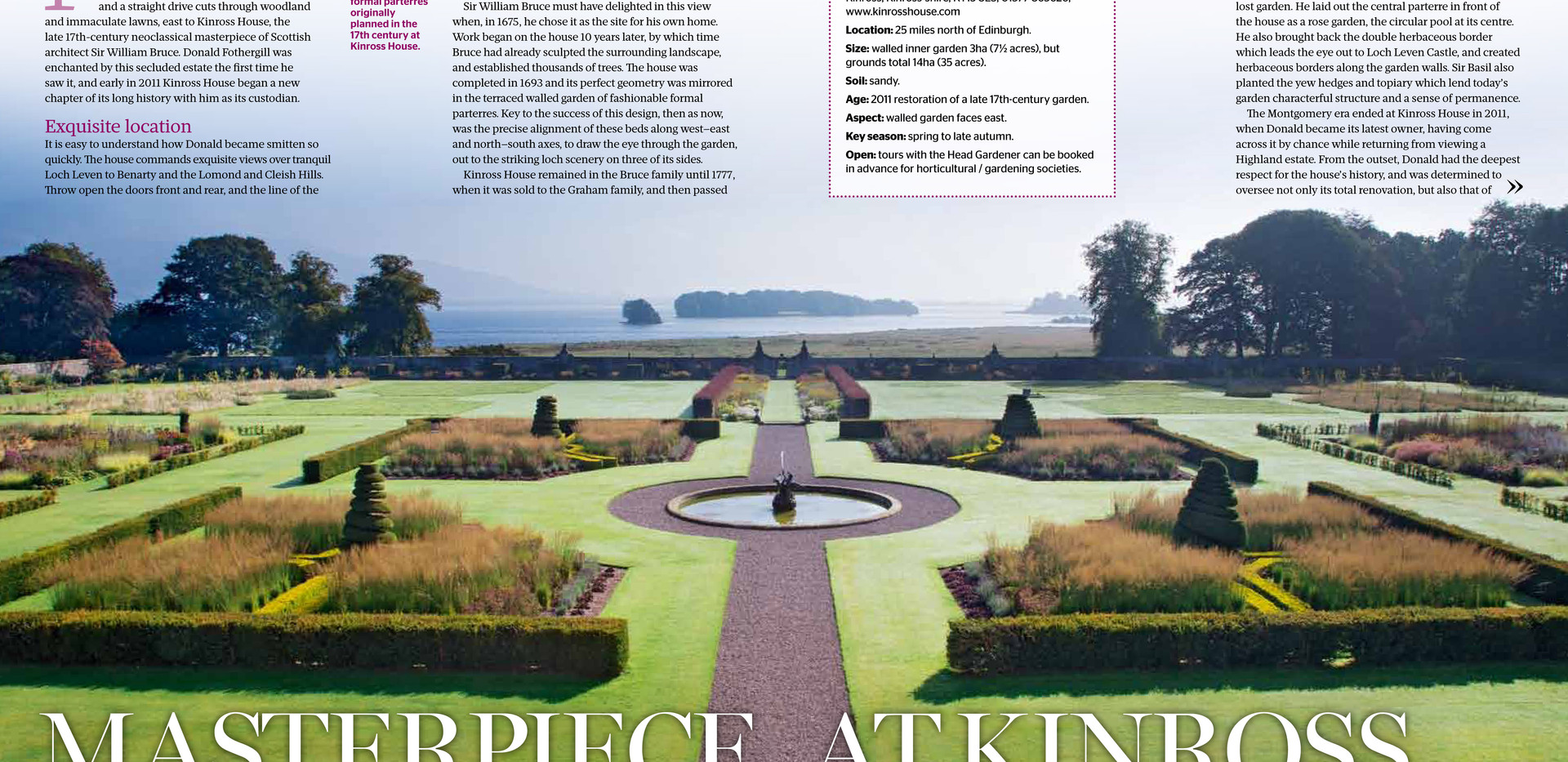 Kinross House Gardens, designed by Alistair Baldwin, The Garden, RHS Magazine September 2016, Page 1